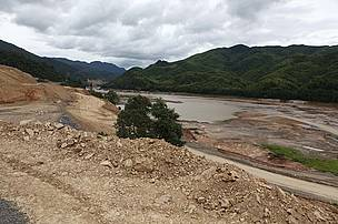Access roads built at the Xayaburi dam site in Northern Laos.