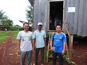 Doung Dinoeun - Community forest secretary; Chhoy Leav - Resin Group Leader; and Khom Sokhom - Honey collector leader in Puchrey Commune