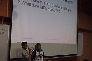 A brave student answering questions during the talk!