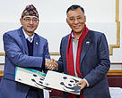 Dr. Sunil Babu Shrestha and Dr. Ghana Shyam Gurung formalize a 5-year working partnership between WWF Nepal and NAST (Nepal Academy of Science and Technology).