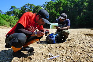 Recording tiger track in Sungal Perak