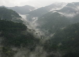 Misty mountains in Kuiburi National Park, Kayah Karen Tenasserim, Thailand