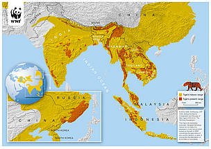 Historic and present range of tiger territory (Feb 2010)