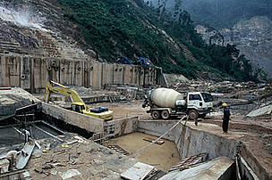 A Vuong hydropower dam construction site in Vietnam